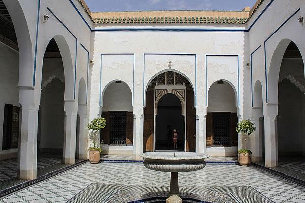 Historické mozaiky a ornamentální dlaždice Bahia Palace Maroko
