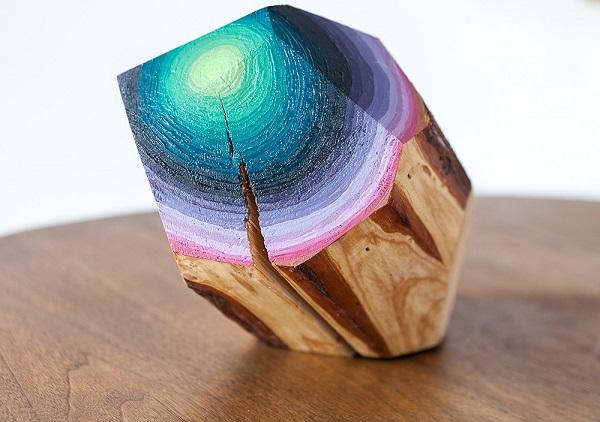 Dřevěné kameny, olejové barvy