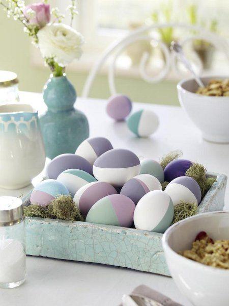 Velikonoční vajíčka v pastelových barvách.